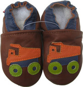 carozoo dump truck brown 0-6m soft sole leather baby shoes