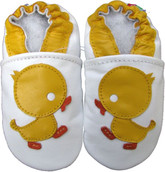 carozoo duck white 0-6m soft sole leather infant baby shoes slippers
