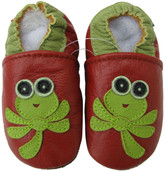 carozoo dragonfly red 0-6m soft sole leather baby shoes