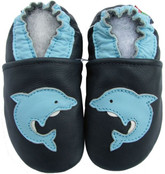 carozoo dolphin dark blue 0-6m new soft sole leather baby shoes