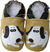 carozoo dog beige 0-6m soft sole leather baby shoes