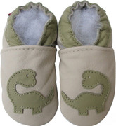 carozoo dinosaur cream 0-6m new soft sole leather baby shoes