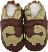 carozoo dinosaur brown 0-6m new soft sole leather baby shoes