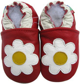 carozoo daisy red 0-6m soft sole leather baby shoes