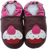 carozoo cupcake dark purple 0-6m soft sole leather infant baby shoes