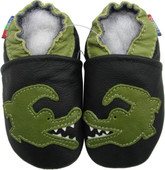 carozoo crocodile black 0-6m soft leather infant baby shoes