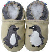carozoo cream penguin 12-18m new soft sole leather baby shoes