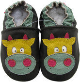 carozoo cow dark brown 6-12m C2 soft sole leather baby shoes