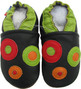 Carozoo circles black 0-6m soft sole leather baby shoes