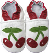 carozoo cherry white 0-6m soft sole leather infant baby shoes