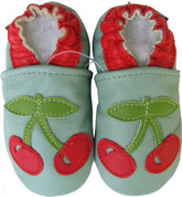 carozoo cherry green 0-6m soft sole leather infant baby shoes