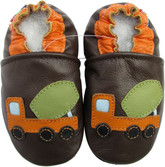 carozoo cement truck brown 18-24m soft sole leather baby shoes