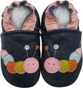 carozoo caterpillar dark blue 0-6m soft sole leather baby infant shoes
