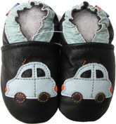carozoo car black 0-6m new soft sole leather baby shoes