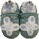 carozoo butterfly light green 0-6m soft sole leather baby shoes
