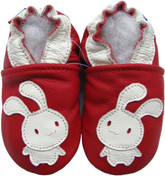 carozoo bunny red 0-6m soft sole leather infant baby shoes