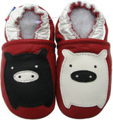 carozoo black white piggy red 0-6m soft sole leather infant baby shoes