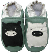 carozoo black white piggy green 0-6m soft sole leather infant baby shoes