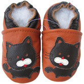 carozoo black cat orange 0-6m new soft sole leather baby shoes
