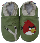 carozoo bird slingshot green 0-6m soft sole leather infant baby shoes