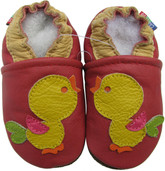 carozoo bird red 0-6m soft sole leather infant baby shoes