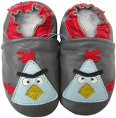carozoo bird grey 0-6m soft sole leather baby shoes