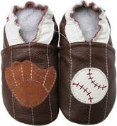 carozoo baseball dark brown 0-6m soft sole leather baby shoes