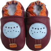 carozoo balloon dark red 0-6m soft sole leather baby shoes