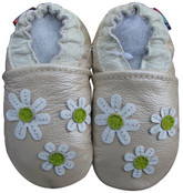 carozoo 3 flowers pearl 0-6m soft sole leather baby shoes