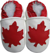carozoo maple leaf white 0-6m soft sole leather infant baby shoes