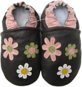 carozoo 3 flowers dark brown 0-6m soft sole leather baby shoes