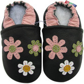 carozoo 3 flowers black 0-6m soft sole leather baby shoes
