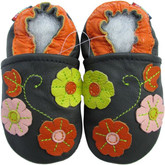 carozoo 3 flower leaf navy blue 0-6m soft sole leather baby shoes