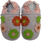 carozoo 3 flower leaf light purple 6-12m soft sole leather baby shoes