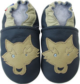 carozoo  wolf navy blue 0-6m soft soled leather baby shoes