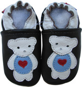 carozoo polar bear black 0-6m soft sole leather baby shoes