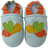 carozoo  bee light blue 0-6m soft sole leather baby shoes