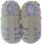 carozoo soft sole leather infant baby sandals cream 0-6m