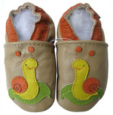 carozoo snail tan 0-6m new soft sole leather baby shoes