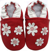 carozoo 3 flowers red 0-6m C1 soft sole leather baby shoes