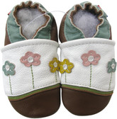carozoo little flower white brown 0-6m new soft sole leather baby shoes