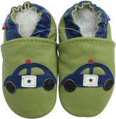 carozoo police car green 0-6m soft  sole leather baby shoes