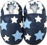 carozoo five stars dark blue 0-6m soft sole leather baby shoes