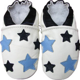 carozoo five stars blue white 0-6m soft sole leather baby shoes