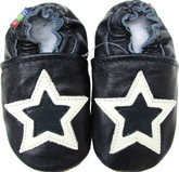 carozoo double stars dark blue 0-6m soft sole leather baby shoes