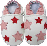 carozoo five stars pink white 0-6m soft sole leather baby shoes