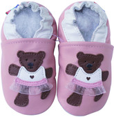 carozoo teddy bear skirt pink outdoor 6-12m soft rubber sole leather crib shoes