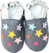Shoeszoo colorful stars grey 0-6m S soft sole leather baby shoes