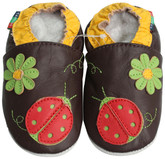 shoeszoo green flower ladybug brown 0-6m S soft sole leather baby shoes