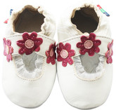 shoeszoo Mary Jane daisy white 0-6m S soft sole leather baby shoes